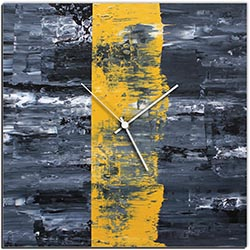 Mendo Vasilevski Yellow Line Square Clock 16in x 16in Modern Wall Clock on Aluminum Composite
