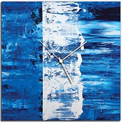 Mendo Vasilevski Blue Street Square Clock 16in x 16in Modern Wall Clock on Aluminum Composite