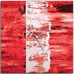 Mendo Vasilevski Red Street Square Clock 16in x 16in Modern Wall Clock on Aluminum Composite