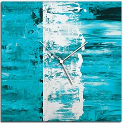 Mendo Vasilevski Teal Street Square Clock 16in x 16in Modern Wall Clock on Aluminum Composite