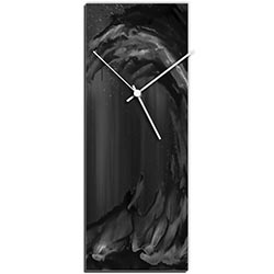 Mendo Vasilevski Black Wave v2 Clock Large 9in x 24in Modern Wall Clock on Aluminum Composite