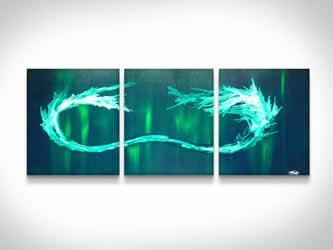 Green Tidal Wave  - Original Canvas Art