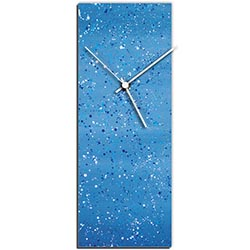 Mendo Vasilevski Blue Flecked Clock 6in x 16in Modern Wall Clock on Aluminum Composite