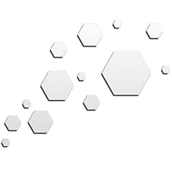 NAY Carbon White 66in x 50in Hexagons Abstract Art on Aluminum Composite