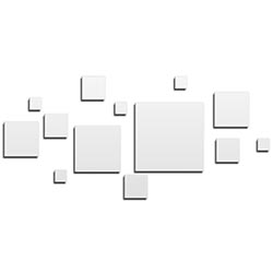 NAY Aerial White 70in x 32in Squares Abstract Art on Aluminum Composite