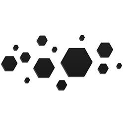 NAY Honeycomb Black 70in x 32in Hexagons Abstract Art on Aluminum Composite