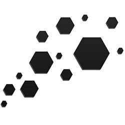 NAY Carbon Black 66in x 50in Hexagons Abstract Art on Aluminum Composite