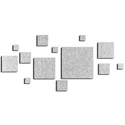 NAY Aerial Silver 70in x 32in Squares Abstract Art on Aluminum Composite