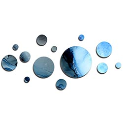 NAY Suspended Blue 70in x 32in Circles Abstract Art on Aluminum Composite