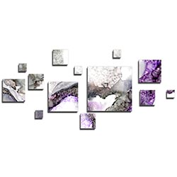 NAY Aerial Purple 70in x 32in Squares Abstract Art on Aluminum Composite