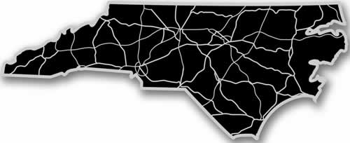 North Carolina - Acrylic Cutout State Map - Black/Grey USA States Acrylic Art