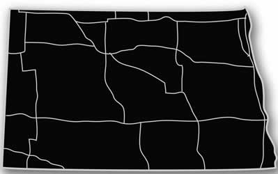 North Dakota - Acrylic Cutout State Map - Black/Grey USA States Acrylic Art