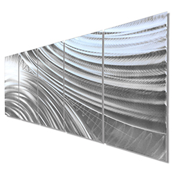 Modern Metal Art Moment of Impact - Abstract Artwork on Natural Aluminum