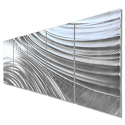 Modern Metal Art Moment of Impact - Abstract Artwork on Natural Aluminum