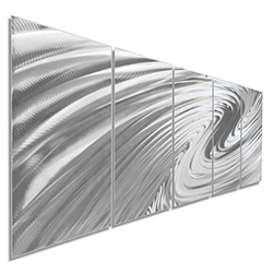 Modern Metal Art The Wave - Soothing Wavy Artwork on Natural Aluminum