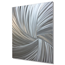 Starburst Metal Art Within the Folds - Modern Artwork on Natural Aluminum