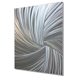 Starburst Metal Art Within the Folds - Modern Artwork on Natural Aluminum