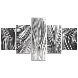 Columnar Plumage 64x36in. Natural Aluminum Abstract Decor