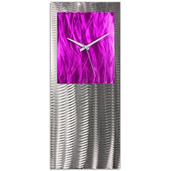 Metal Art Studio Abstract Decor Pink Studio Clock 10in x 24in