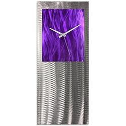 Metal Art Studio Abstract Decor Purple Studio Clock 10in x 24in