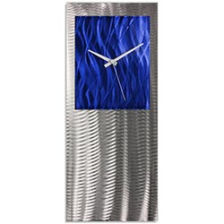 Metal Art Studio Abstract Decor Blue Studio Clock 10in x 24in