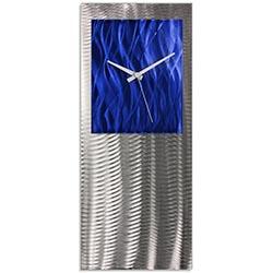 Metal Art Studio Abstract Decor Blue Studio Clock 10in x 24in