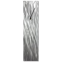 Silver Waves Clock by Nate Halley - Contemporary Wall Clock on Natural Aluminum
