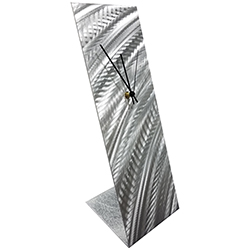 Silver Curves Desk Clock 6x18in. Natural Aluminum