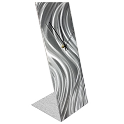Silver River Desk Clock by Nate Halley - Modern Table Clock on Natural Aluminum
