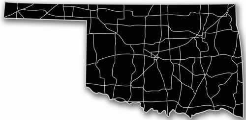 Oklahoma - Acrylic Cutout State Map - Black/Grey USA States Acrylic Art