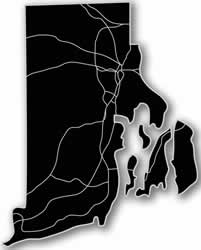 Rhode Island - Acrylic Cutout State Map - Black/Grey USA States Acrylic Art