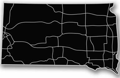South Dakota - Acrylic Cutout State Map - Black/Grey USA States Acrylic Art