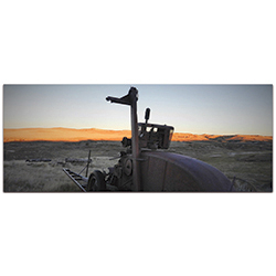 Western Wall Art Tractor Sunset - American West Decor on Metal or Plexiglass
