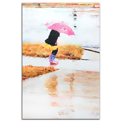 Pink Umbrella - Modern Metal Wall Art