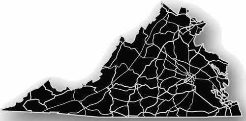 Virginia - Acrylic Cutout State Map - Black/Grey USA States Acrylic Art