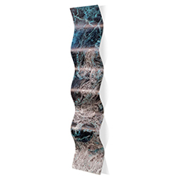 Storm Turquoise Wave 9.5x44in. Metal Eclectic Decor