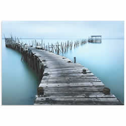 Old Aqua Dock by Jesus M. Garcia - Coastal Art on Metal or Acrylic