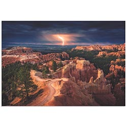 Lightning Over Bryce Canyon by Stefan Mitterwallner - Storm Pictures on Metal or Acrylic