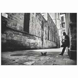 Sax in the City by GertJan van Geerenstein - Black & White Music Art on Metal or Acrylic