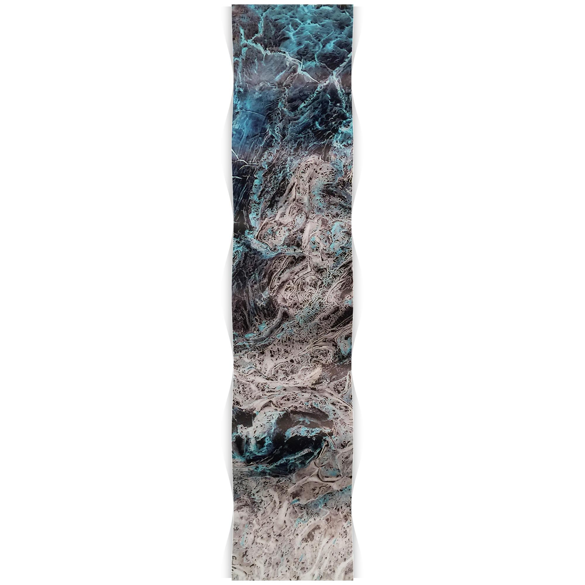Storm Turquoise Wave 9.5x44in. Metal Eclectic Decor - Image 2