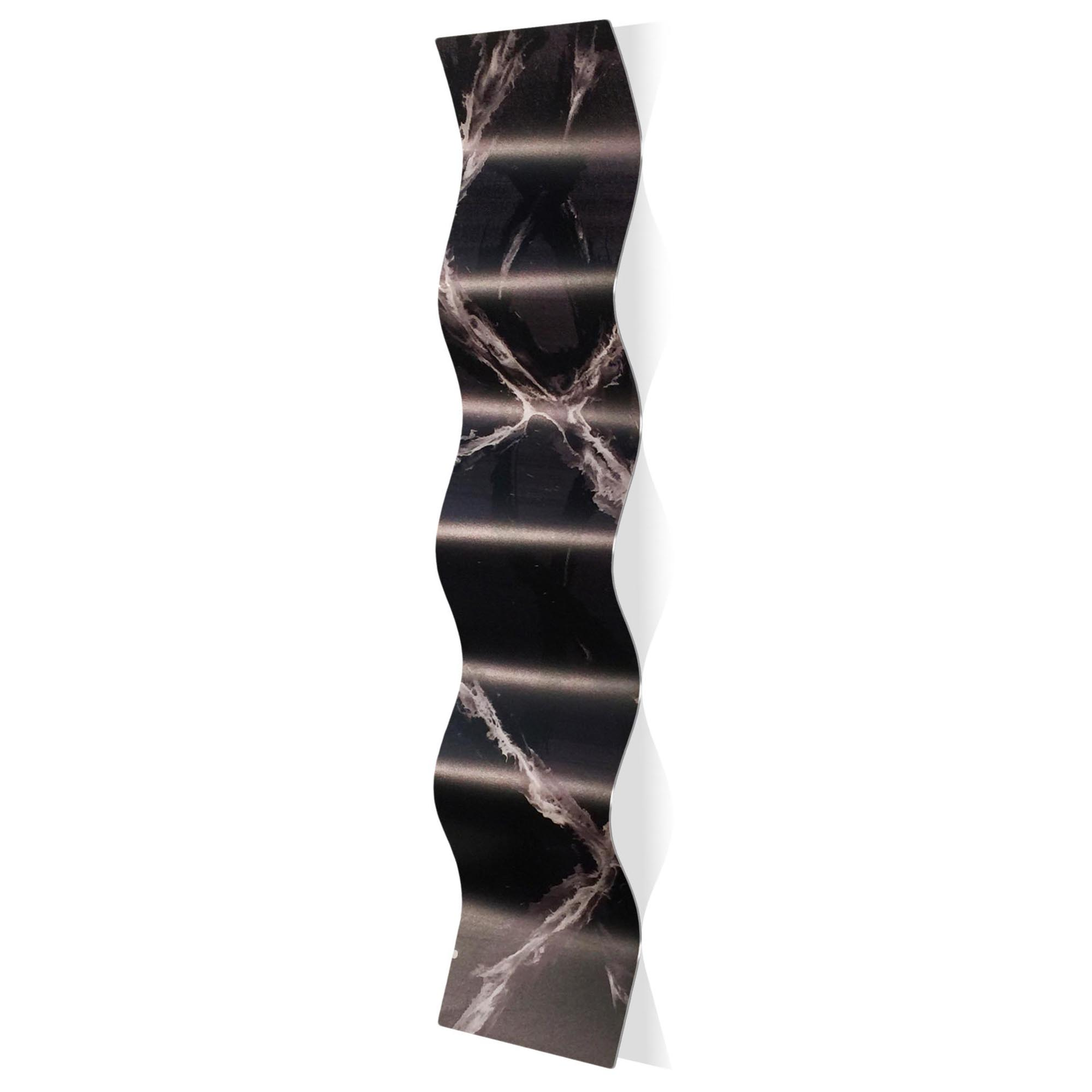 Black and White Wave 9.5x44in. Metal Eclectic Decor