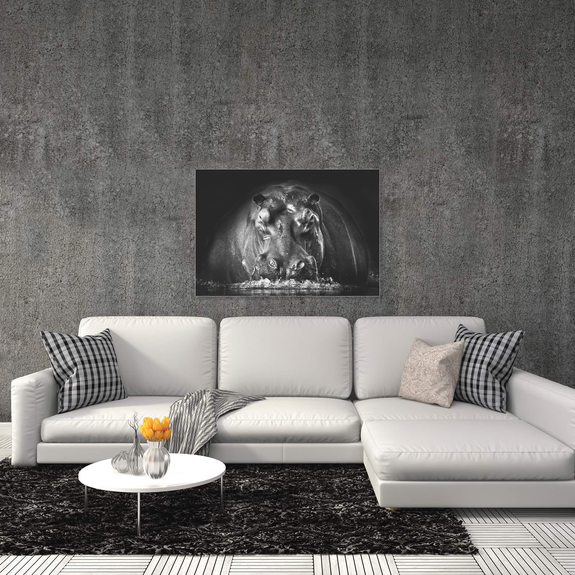 Hippo on Guard by Gorazd Golob - Modern Hippo Art on Metal or Acrylic - Alternate View 1