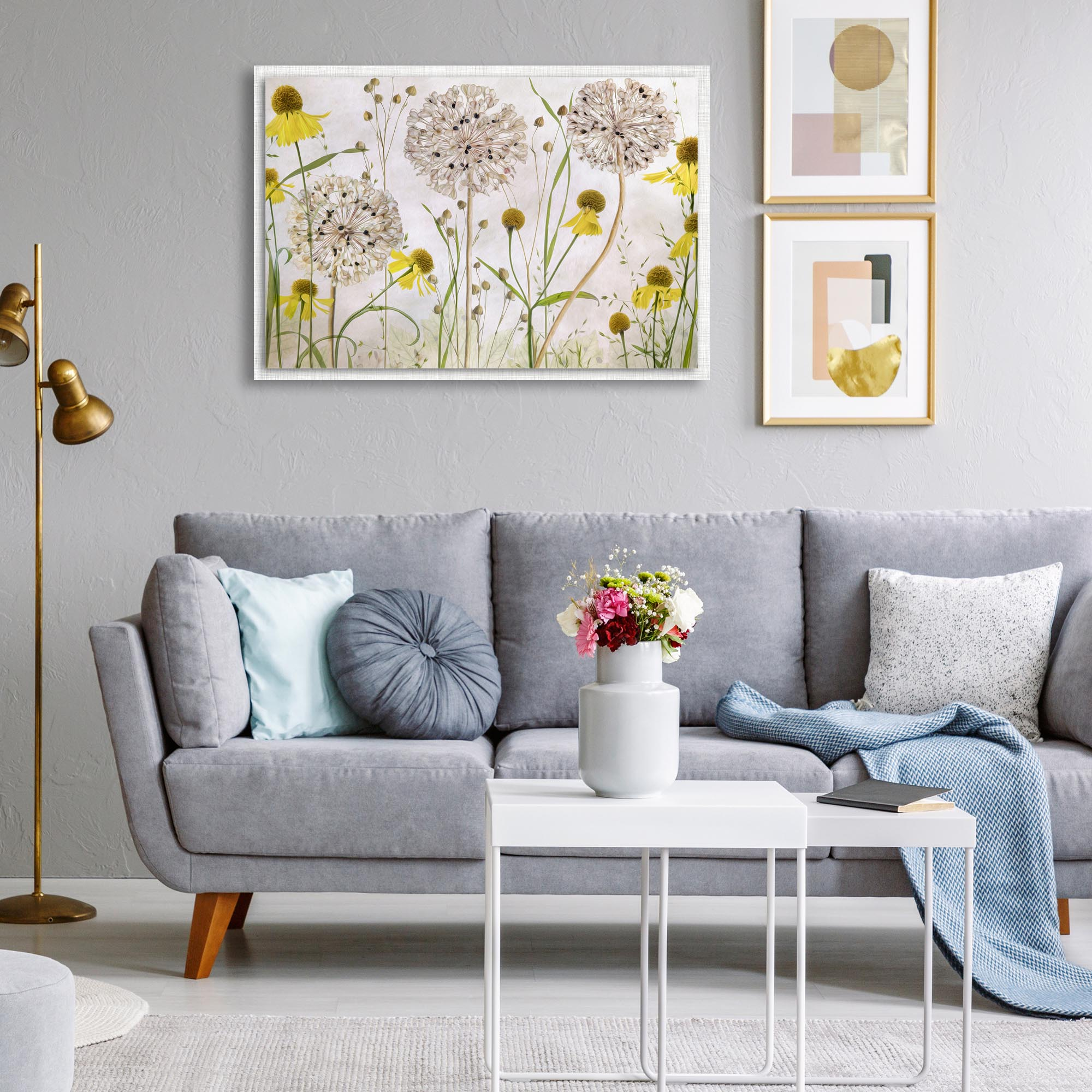 Alliums and Heleniums by Mandy Disher - Modern Farmhouse Floral on Metal - Lifestyle View
