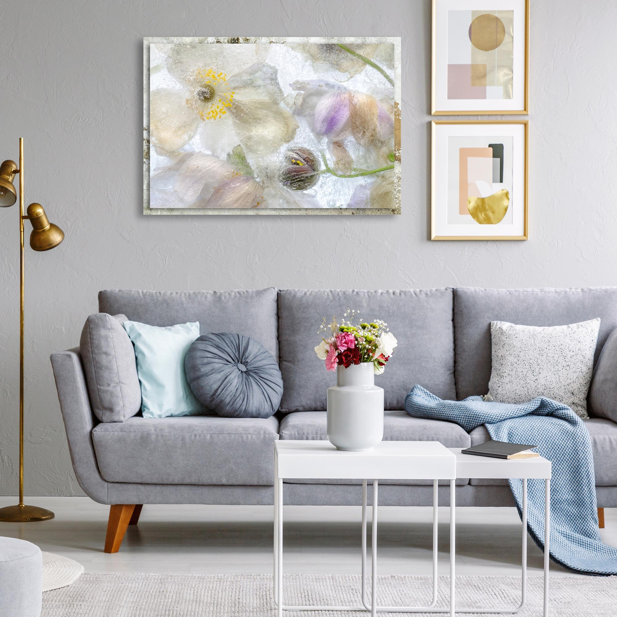 Anemone Frost by Mandy Disher - Modern Farmhouse Floral on Metal - Lifestyle View