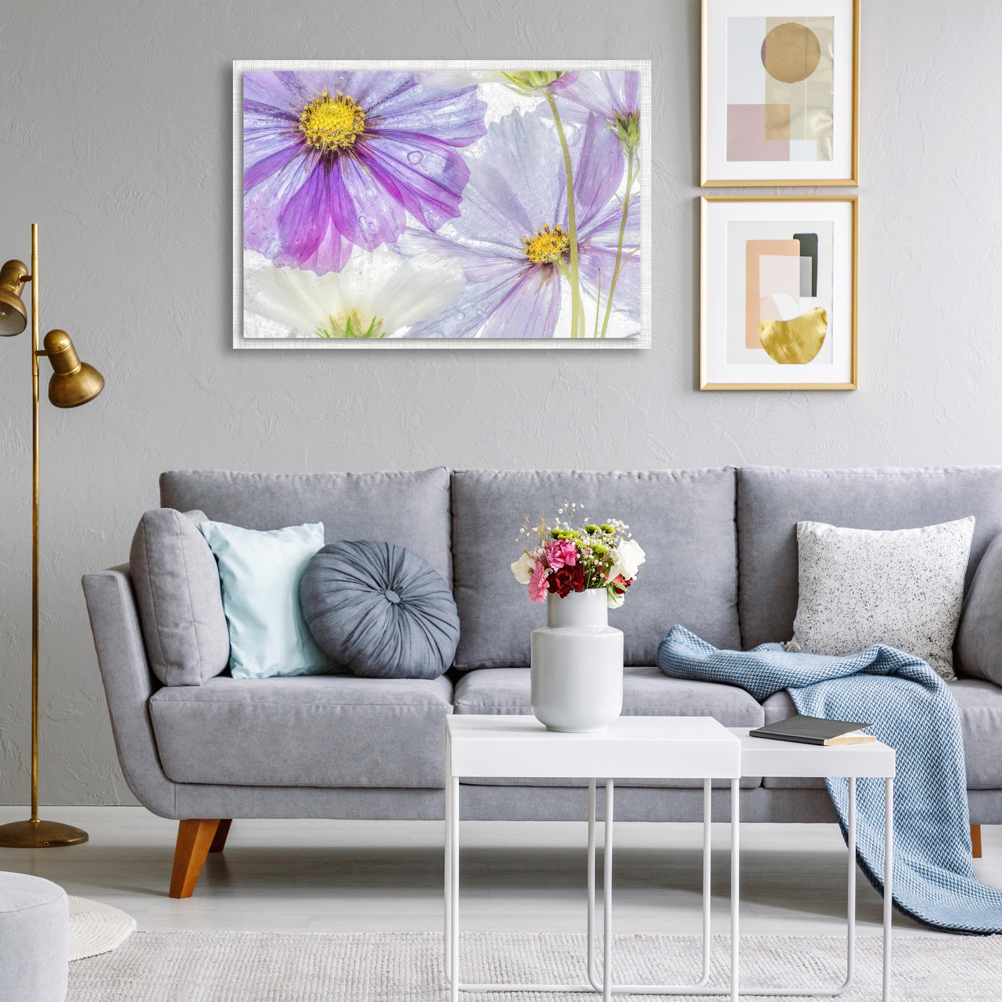 Cosmos Cool by Mandy Disher - Modern Farmhouse Floral on Metal - Lifestyle View