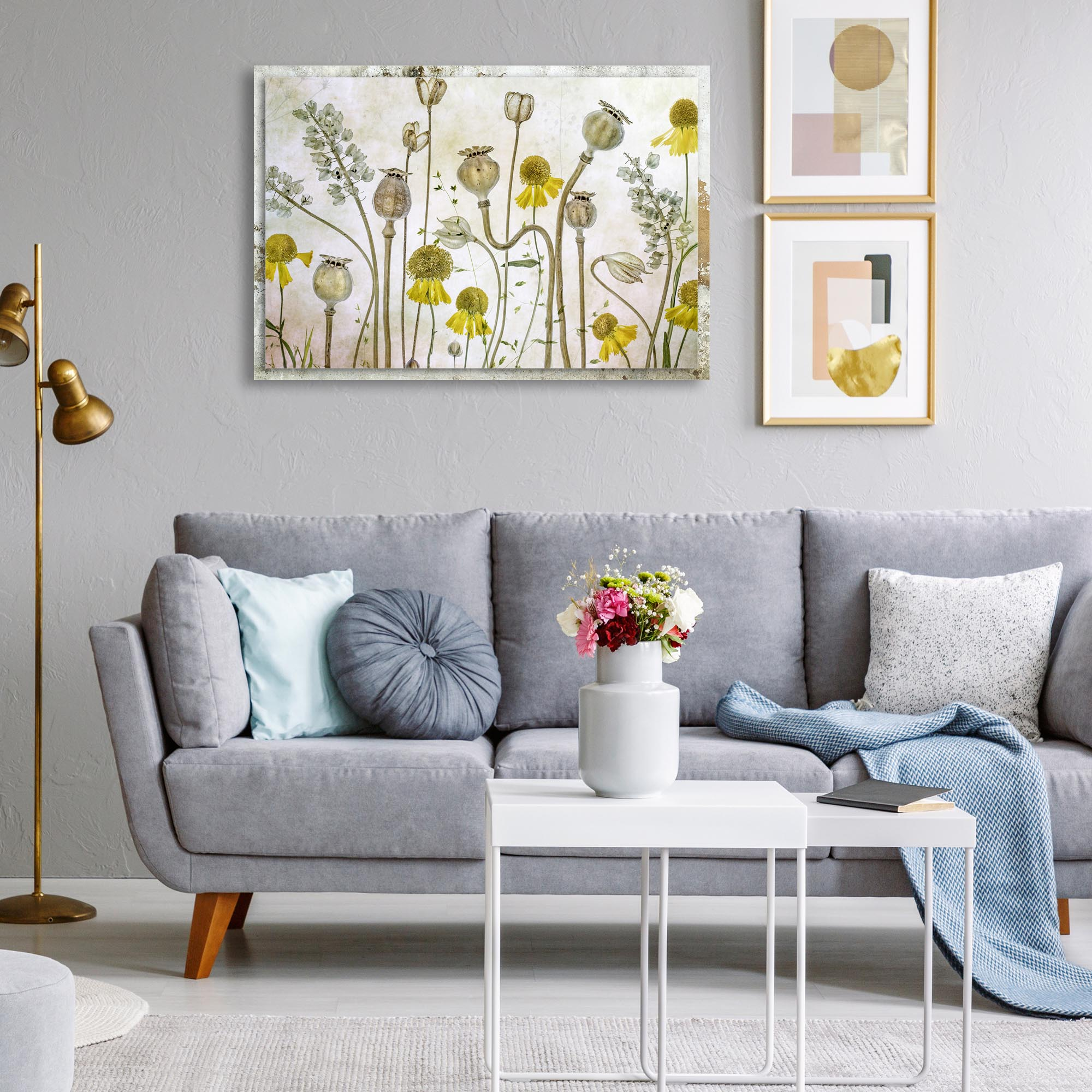 Poppies and Helenium by Mandy Disher - Modern Farmhouse Floral on Metal - Lifestyle View
