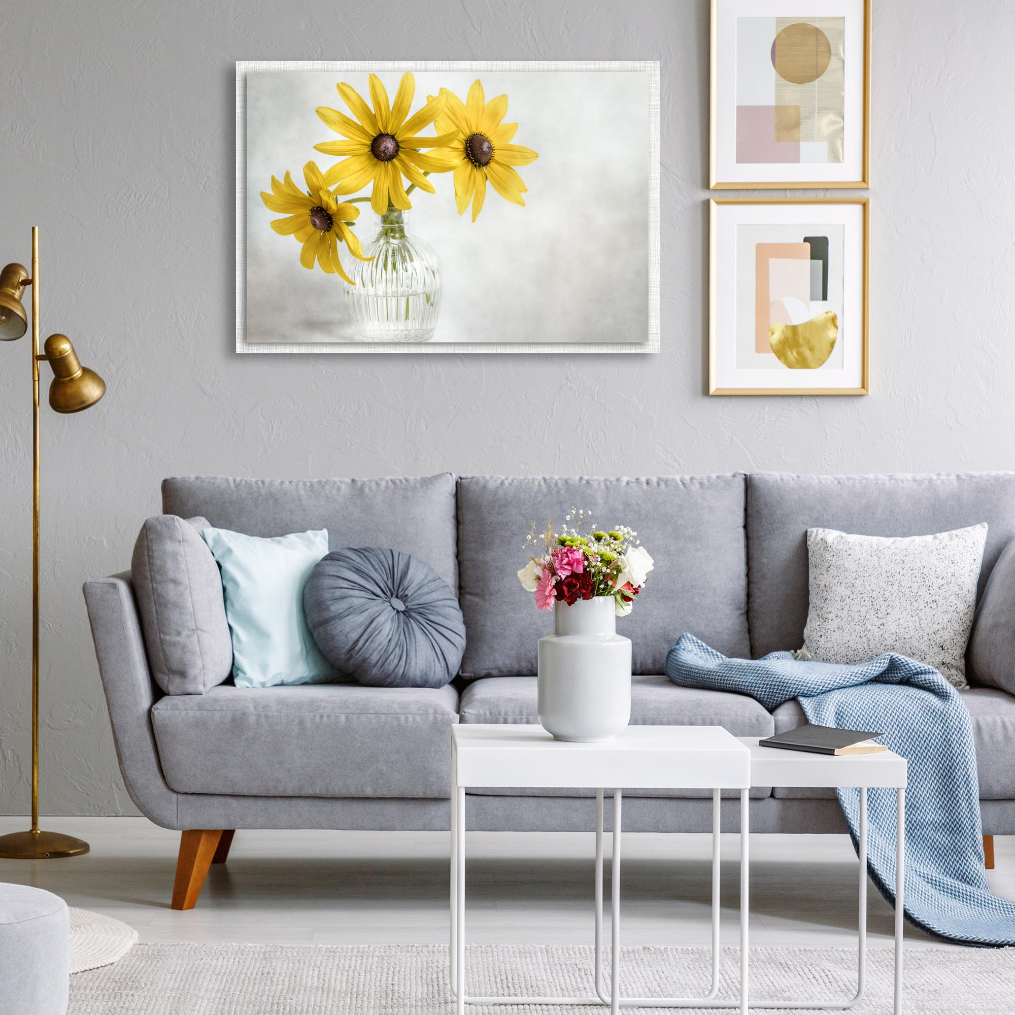Rudbeckia by Mandy Disher - Modern Farmhouse Floral on Metal - Lifestyle View