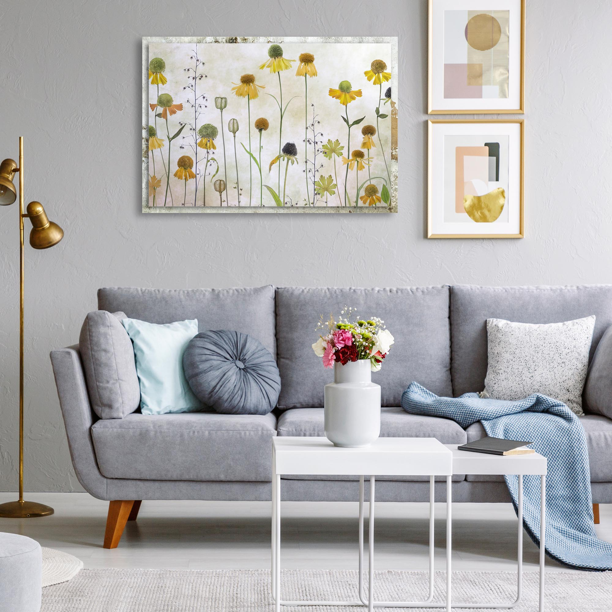 Helenium by Mandy Disher - Modern Farmhouse Floral on Metal - Lifestyle View