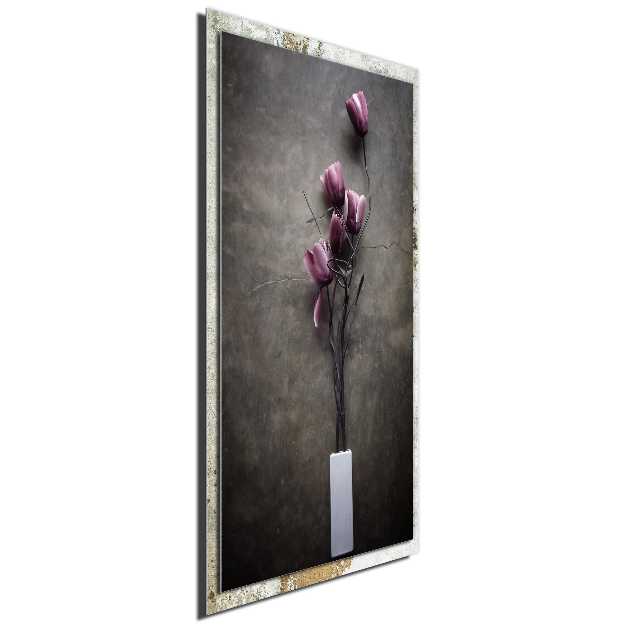 The Purple Tulip by kahar lagaa - Modern Farmhouse Floral on Metal - Image 2