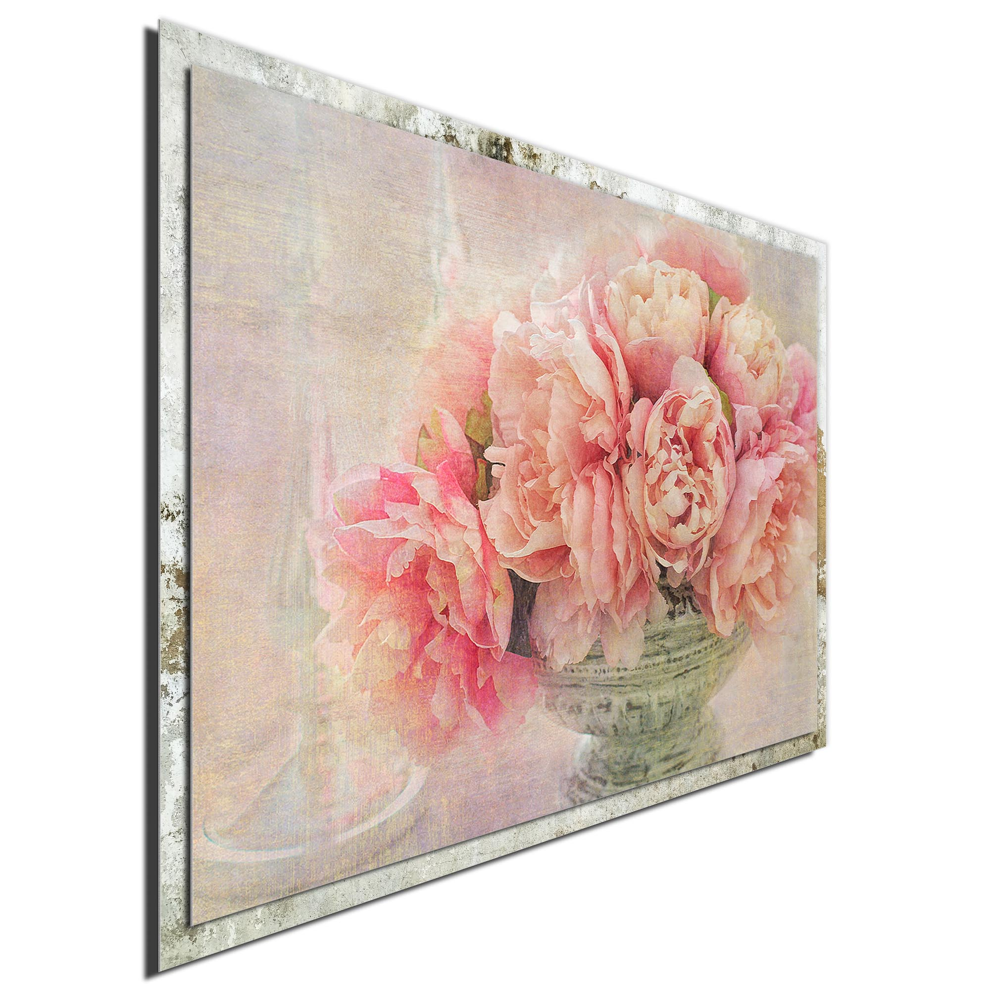 A Posy of Pink Peonies by Gaille Gray - Modern Farmhouse Floral on Metal - Image 2